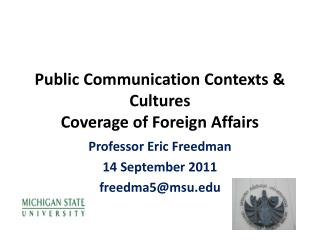 Public Communication Contexts & Cultures  Coverage  of Foreign Affairs