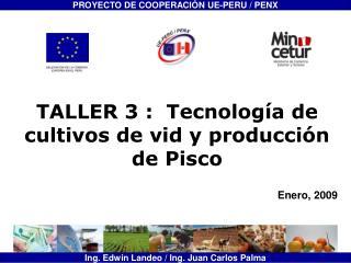 TALLER 3 :  Tecnolog a de cultivos de vid y producci n de Pisco