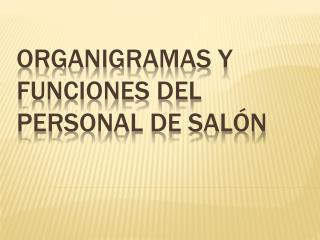 ORGANIGRAMAS Y FUNCIONES DEL    PERSONAL de sal n