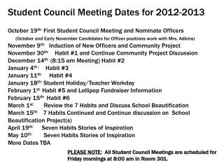 2012 2013 Meeting Dates for Student Council