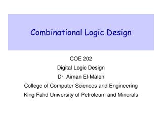 Combinational Logic Design