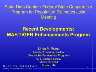 Geographic Programs Update