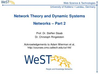Network Theory and Dynamic  Systems Networks – Part 2