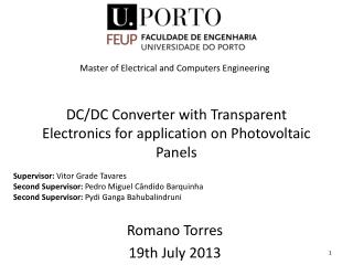 DC/DC Converter  with Transparent Electronics  for  application on Photovoltaic Panels