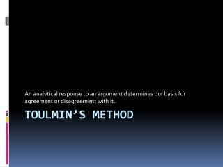 Toulmin's  method
