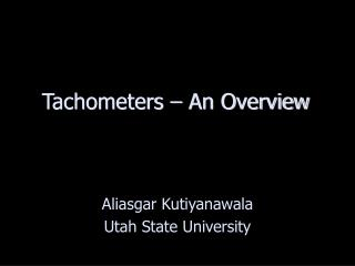 Tachometers   An Overview
