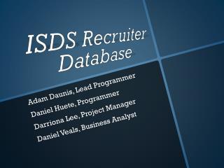 ISDS Recruiter Database