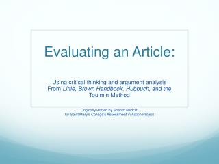 Evaluating an Article: