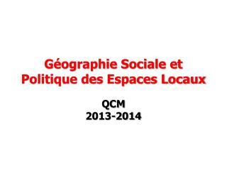 Géographie Sociale et Politique des Espaces Locaux