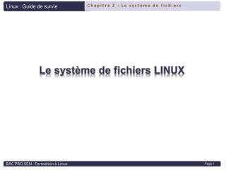 Le système de fichiers LINUX