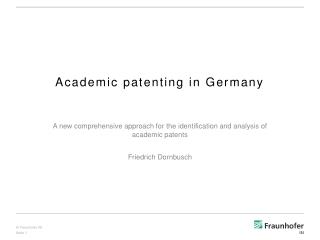 Academic patenting in Germany