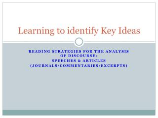 Learning to identify  Key  Ideas