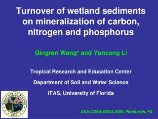 Turnover of wetland sediments on mineralization of carbon, nitrogen and phosphorus