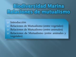 Biodiversidad Marina Relaciones de mutualismo