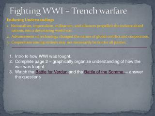 Fighting WWI – Trench warfare