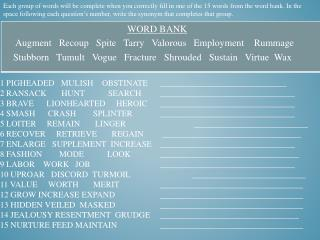 bell work 60 synonyms