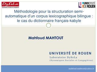 Université de Rouen             Laboratoire  DySoLa