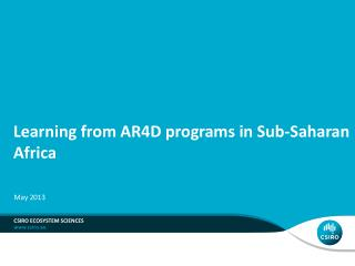 Learning from AR4D programs in Sub-Saharan Africa