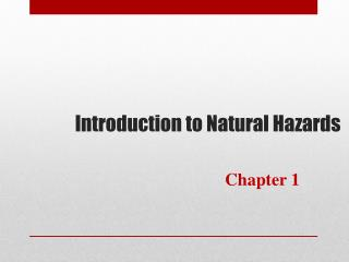 Introduction to Natural Hazards