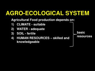 AGRO-ECOLOGICAL SYSTEM