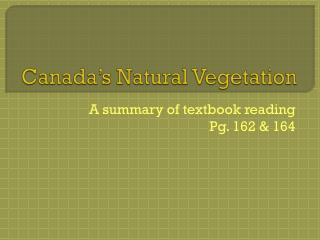 Canada's Natural Vegetation