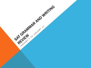 SAT Grammar and Writing Review