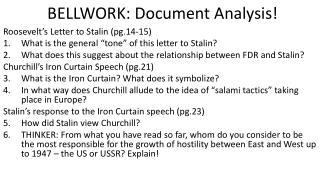 BELLWORK: Document Analysis!