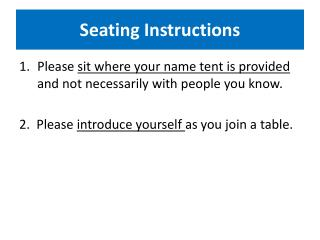 Seating Instructions
