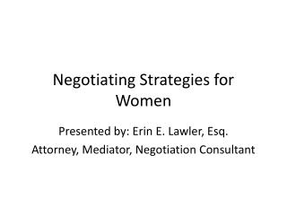 Negotiating Strategies for Women