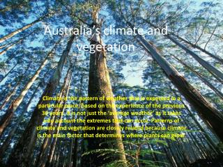 Australia's climate and vegetation