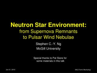 Neutron Star Environment: from Supernova Remnants  to Pulsar Wind Nebulae