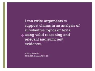 Writing Standard. CCSS.ELA-Literacy.W.11-12.1