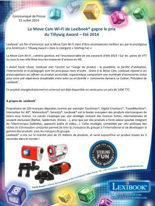 La Move Cam Wi-Fi de  Lexibook ® gagne le prix  du Tillywig  Award  – Eté 2014