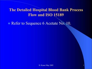 The Detailed Hospital Blood Bank Process Flow and ISO 15189