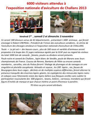 6000 visiteurs attendus à  l'exposition nationale d'aviculture de Challans 2013