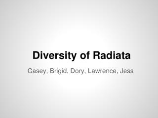 Diversity of Radiata