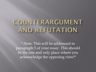 Counterargument and refutation