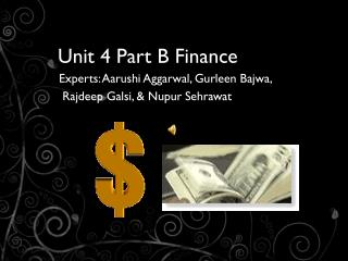 Unit 4 Part B Finance