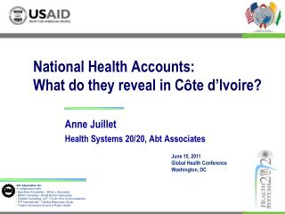 National Health Accounts:  What do they reveal in C ô te d'Ivoire?