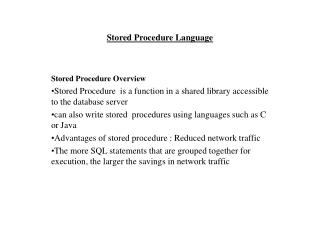 Stored Procedure Language