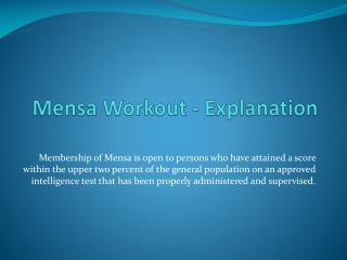 Mensa  Workout - Explanation