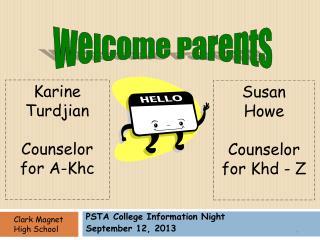 PSTA College Information Night September 12, 2013