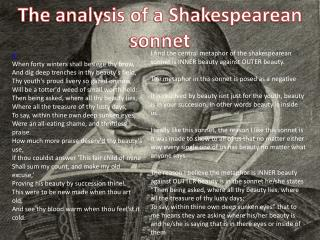 The analysis of a Shakespearean sonnet