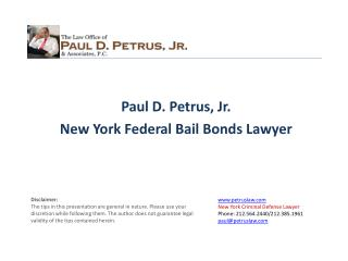 Paul D.  Petrus, Jr. New  York  Federal Bail Bonds Lawyer