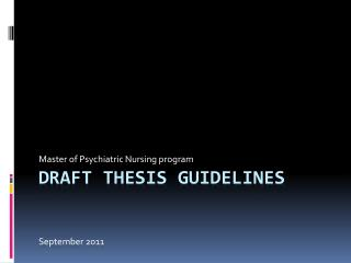 Draft Thesis Guidelines S eptember  2011