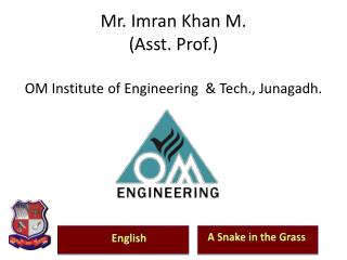 Mr.  Imran  Khan M. (Asst. Prof.)