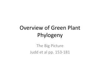 Overview of Green Plant Phylogeny