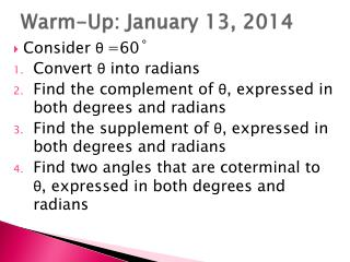 Warm-Up: January 13, 2014