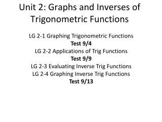 Unit 2: Graphs and Inverses of Trigonometric Functions