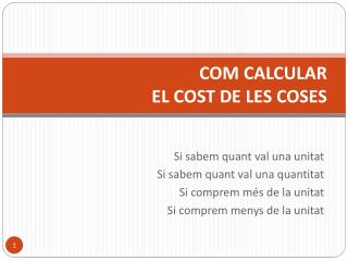 COM CALCULAR  EL COST DE LES COSES